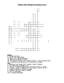 Read 180 FLEX2 Workshop 1 (Who's Watching You?) Vocabulary Crossword