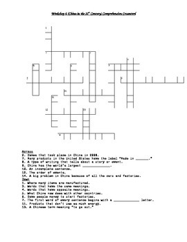Read 180 FLEX2 Workshop 2 (China in the 21st Century) Comprehension Crossword