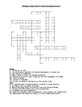 Read 180 FLEX2 Workshop 2 (China in the 21st Century) Vocabulary Crossword