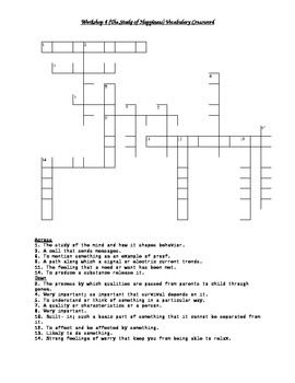 Read 180 FLEX2 Workshop 4 (The Science of Happiness) Vocabulary Crossword