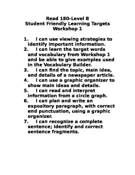 Read 180 Level B WS 1 Student Friendly Learning Targets