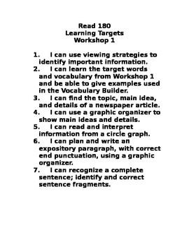 Read 180 Level B Workshop 2 Learning Targets