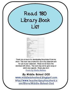 Read 180 Library Booklist