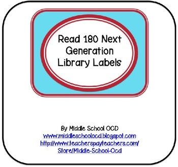 Read 180 Next Generation Library Labels