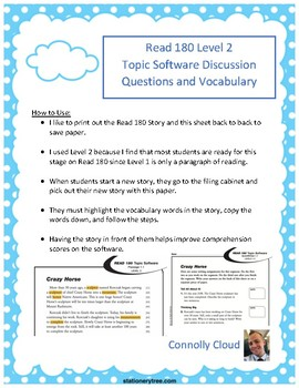 Read 180 Stage A - Topic Software 13 Graphic Organizer for Vocabulary