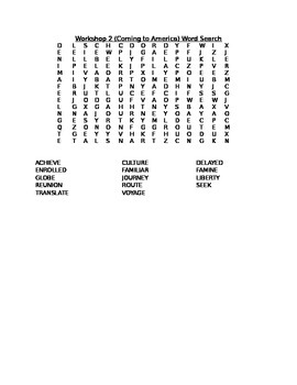 Read 180 Stage A Workshop 2 (Coming to America) Word Search