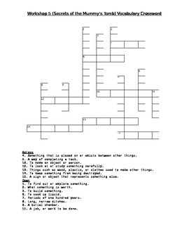 Read 180 Stage A Workshop 5 (Secrets of the Mummy's Tomb) Vocabulary Crossword