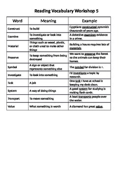 Read 180 Stage A Workshop 5 Vocabulary