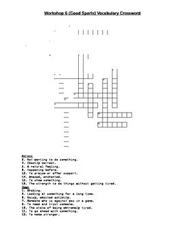 Read 180 Stage A Workshop 6 (Good Sports) Vocabulary Crossword Puzzle