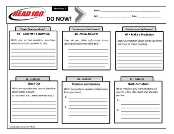 Read 180 - Stage B - Do Nows - Workshop 5