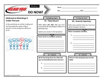 Read 180 - Stage B - Do Nows - Workshop 5 - WITH LINES