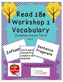 Read 180 Stage B Workshop 1 Vocabulary Flash Cards and Word Wall Cards