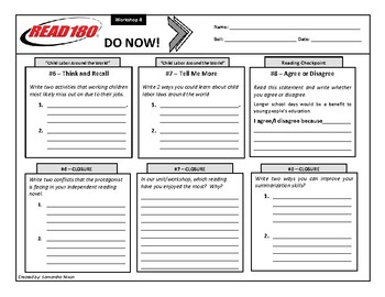 Read 180 - Stage B - Do Nows - Workshop 4