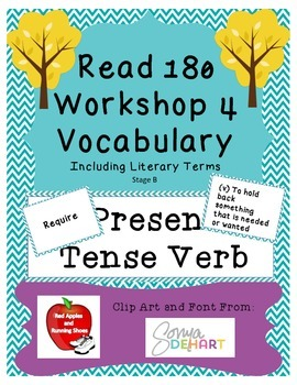 Read 180 Stage B Workshop 4 Vocabulary Flash Cards and Word Wall Cards