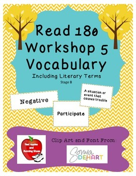 Read 180 Stage B Workshop 5 Vocabulary Flash Cards and Word Wall Cards