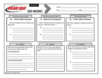 Read 180 - Stage B - Do Nows - Workshop 6