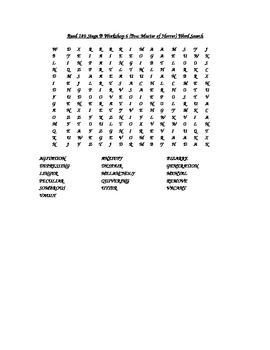 Read 180 Stage B Workshop 6 (Poe: Master of Horror) Word Search