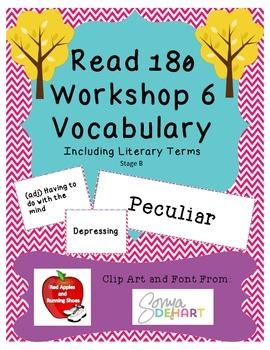 Read 180 Stage B Workshop 6 Vocabulary Flash Cards and Wor
