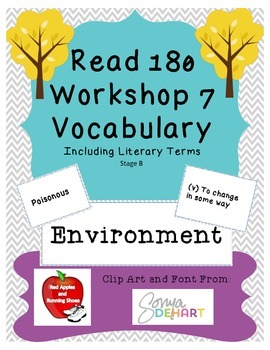 Read 180 Stage B Workshop 7 Vocabulary Flash Cards and Word Wall Cards