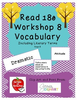 Read 180 Stage B Workshop 8 Vocabulary Flash Cards and Word Wall Cards