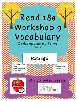 Read 180 Stage B Workshop 9 Vocabulary Flash Cards and Wor