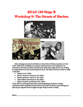 Read 180 Unit, Workshup 9, The Streets of Harlem - Essay Writing Prompts