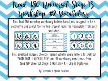 Read 180 Universal Stage B Vocabulary Bulletin Board- Workshop 3- Chevrons