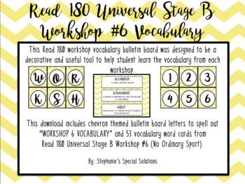 Read 180 Universal Stage B Vocabulary Bulletin Board- Workshop 6- Chevrons