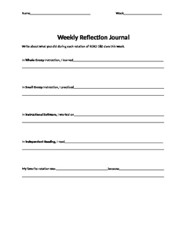 Read 180 Weekly Reflection Sheet