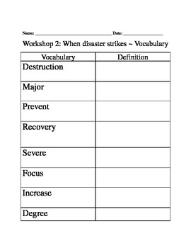 Read 180 Workshop 2 Vocabulary Packet
