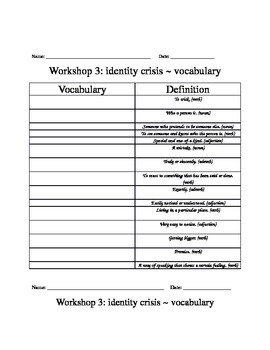 Read 180 Workshop 3 Vocabulary Packet