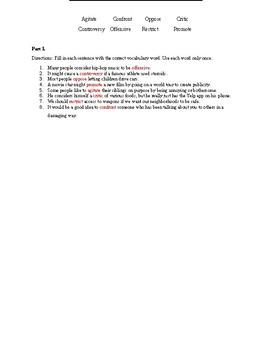 "Read 180 Workshop 4 ""When Music Offends"" Vocabulary Quiz"