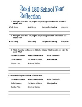 Read 180 (stage B) School Year Reflection