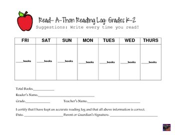 Read-A-Thon Reading Logs- Right to Read Week