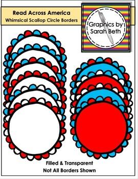 Read Across Amercia - Whimsical Scallop Circle Borders - Clipart Borders