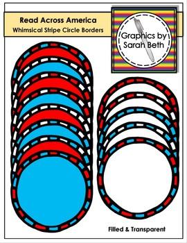 Read Across Amercia - Whimsical Stripe Circle Borders - Cl