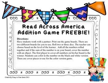 Reading Week Addition Game Freebie