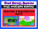 Read Across America Addition & Subtraction Pixel Art Mystery BUNDLE