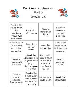 3-5 Dr. Seuss Bingo