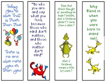 Read Across America Bookmarks (Dr.Seuss Theme)