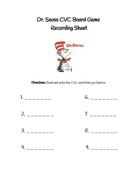 Read Across America CVC Word Recording Sheet