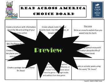 Read Across America Choice Board Activities Menu Project Rubric Tic Tac Toe