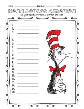 Read Across America Dr. Seuss Spelling Worksheets for Lower or Upper ...