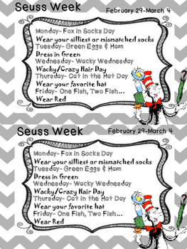 Read Across America / Dr. Seuss Week Flier