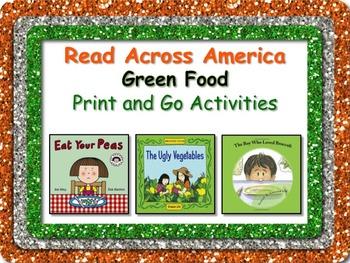 Green Food Literacy and Math Fun Pack + BONUS Bookmarks Read Across America