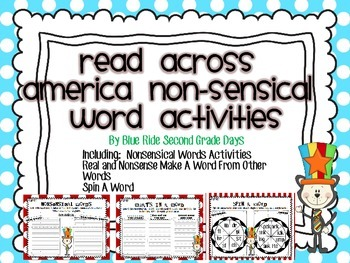 Read Across America Non-Sensical Word Activities For Real and Nonsense Word