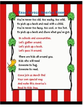 Read Across America Poem By Kindergarten Loves Me
