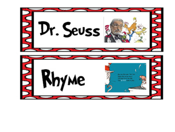 Read Across America Preschool- Kindergarten Literacy & Math& Extras
