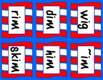Read Across America Rhyming, cvc, and nonsense words.  Bonus Math Ten Frames