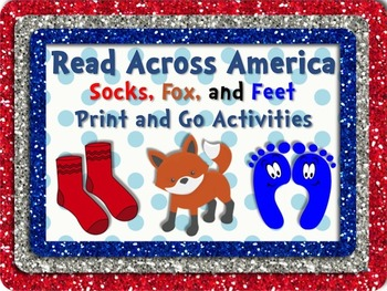 Socks, Fox & Feet Literacy & Math Fun Pack PLUS Bookmarks! Read Across America